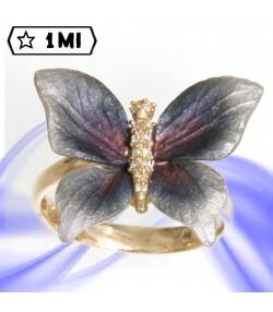 Elegante Anello con farfalla sfumata blu e Diamanti