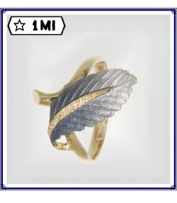Elegante anello con  foglia sfumata blu e diamanti