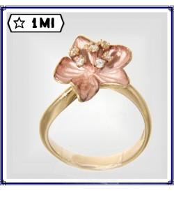 Elegante Anello fiore sfumato rosa e Diamanti