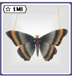 Elegante ciondolo Farfalla blu con varie sfumature con rubini