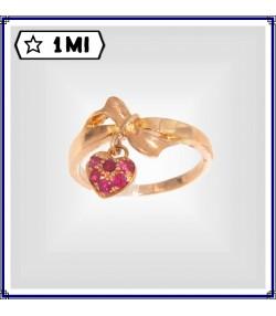 Anello a fiocco oro rosa con rubini