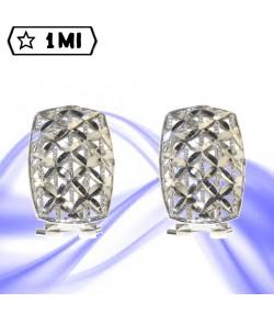 Eleganti Orecchini in oro bianco diamantato rettangolari
