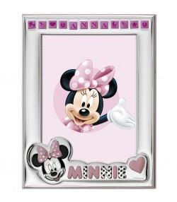 Cornice argento Minnie rosa D158 4LRA