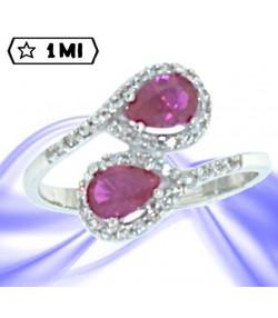Raffinato anello con pietre a goccia rosa taglio brillante