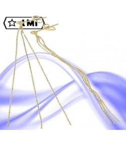 Eleganti orecchini Maglia stampata diamantata in oro giallo