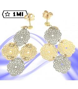 Eleganti orecchini ovali a fiore traforati oro giallo e oro bianco