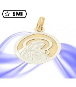 Ciondolo ovale in oro giallo e bianco Madonna col bambino