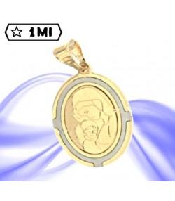 Grazioso ciondolo ovale Madonna con bambino in oro giallo contorno in oro bianco