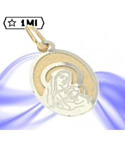 Ciondolo ovale Madonna con bambino in oro giallo e oro bianco