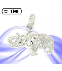 Elegante ciondolo elefante in oro bianco e brillantinato