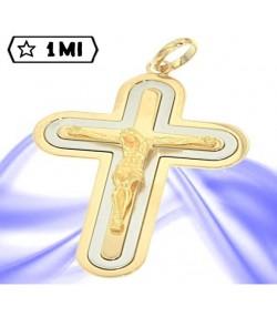 Elegante crocefisso con Gesù in oro giallo e oro bianco