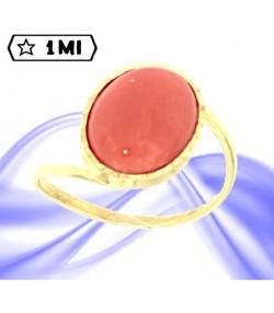 Raffinato anello in oro giallo con corallo rosso mediterraneo