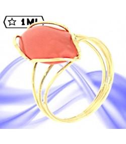 Elegante anello in oro giallo con corallo rosso mediterraneo