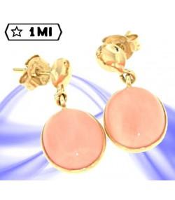 Eleganti orecchini in oro giallo con corallo rosa mediterraneo