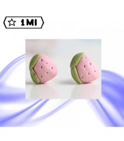 Orecchini in ceramica forma fragola rosa