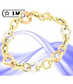 Elegante bracciale anelli intrecciati in oro giallo e ovali nei tre colori dell'oro