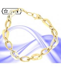 Elegante bracciale ovali intrecciati in oro giallo e ovali riquadrati in oro giallo e oro bianco