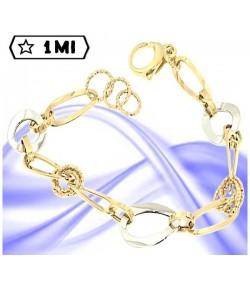 Elegante bracciale maglie groumet allungate in oro giallo ovali in oro bianco  e anelli in oro giallo intrecciati