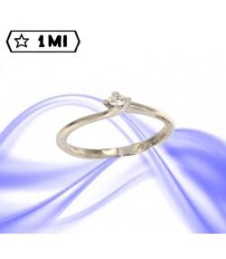 Elegante Solitario  Valentino in oro bianco con diamante da  0,13ct