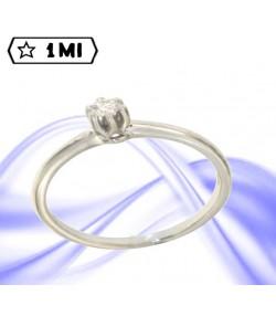 Solitario Gemelli in oro bianco con diamante da 13 punti