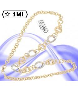 Elegante collana anelli in oro giallo e ovali in oro bianco
