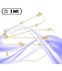 Elegante collana lunga in oro giallo con sfere diamantate e anelli intrecciati