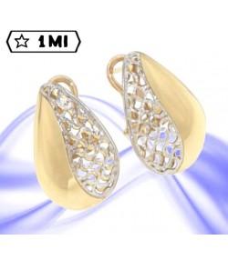 Eleganti orecchini a goccia metà in oro giallo metà in oro bianco traforato