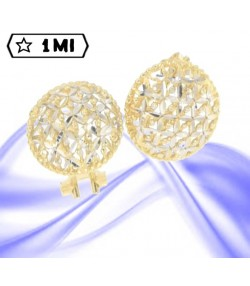 Raffinati orecchini a bottone in oro giallo trafori in oro bianco diamantato