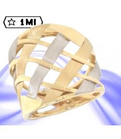 Elegante anello a fascia in oro giallo trafori in oro bianco e oro giallo satinato