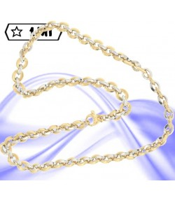 Raffinata collana anellini intrecciati in oro giallo e oro bianco