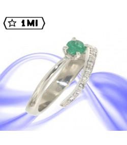 Raffinato Solitario Solel35 in platino con smeraldo e diamanti