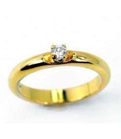 Elegante  Solitario Francesina in oro giallo diamante  da 0,15ct