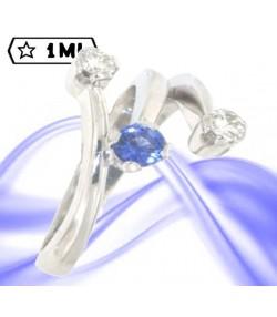 Elegante trilogy Firework in oro bianco con diamanti e zaffiro blu