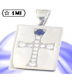 Raffinata targhetta ciondolo in oro bianco con croce di diamanti e zaffiro blu