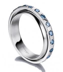 Raffinata Veretta DP46 in platino con diamanti blu