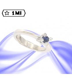 Elegante solitario sol2 in oro bianco con zaffiro blu e diamanti