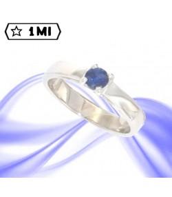 Raffinato solitario sol6 in oro bianco con zaffiro blu