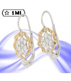Eleganti orecchini  fiore in oro giallo e oro bianco con diamanti
