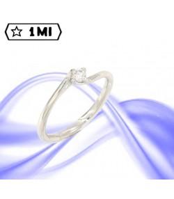 Elegante solitario valentino in oro bianco con diamante