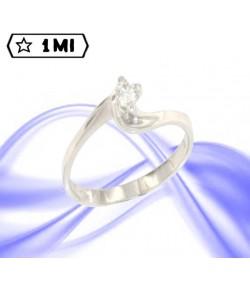 Raffinato solitario contrariè alto in oro bianco con diamante