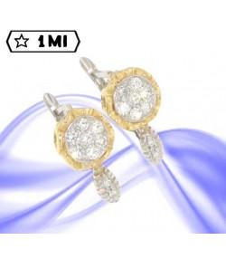 Signorili orecchini a fiore in oro giallo e bianco  con diamanti
