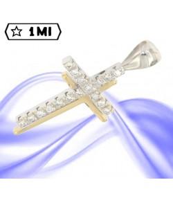 Elegante croce doppia in oro giallo e oro bianco con diamanti