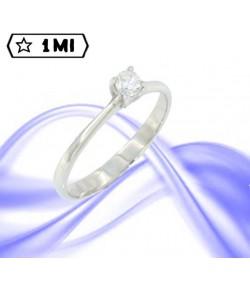 """Elegante Solitario """"in love""""in oro bianco con diamante da 0,20ct"""