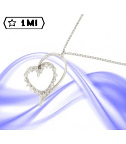 Raffinata collana in oro bianco con doppio cuore con diamanti