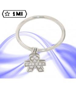 Grazioso anello in oro bianco con bimbo pendente