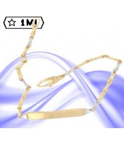 Raffinato bracciale bimba/o maglia bambù in oro giallo e oro bianco con targhetta