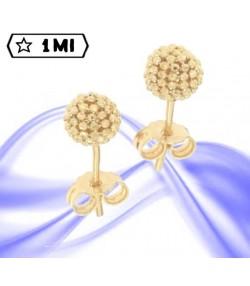 Eleganti orecchini sfera diamantata in oro giallo