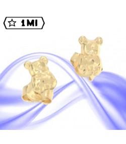Graziosi orecchini orsacchiotto in oro giallo