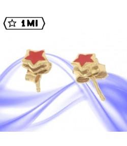 Graziosi orecchini in oro giallo stellina rossa smaltata