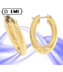 Eleganti orecchini ovali tubolari in oro giallo